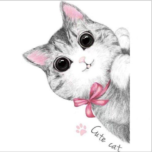 Decal dán tường bé mèo nơ hồng