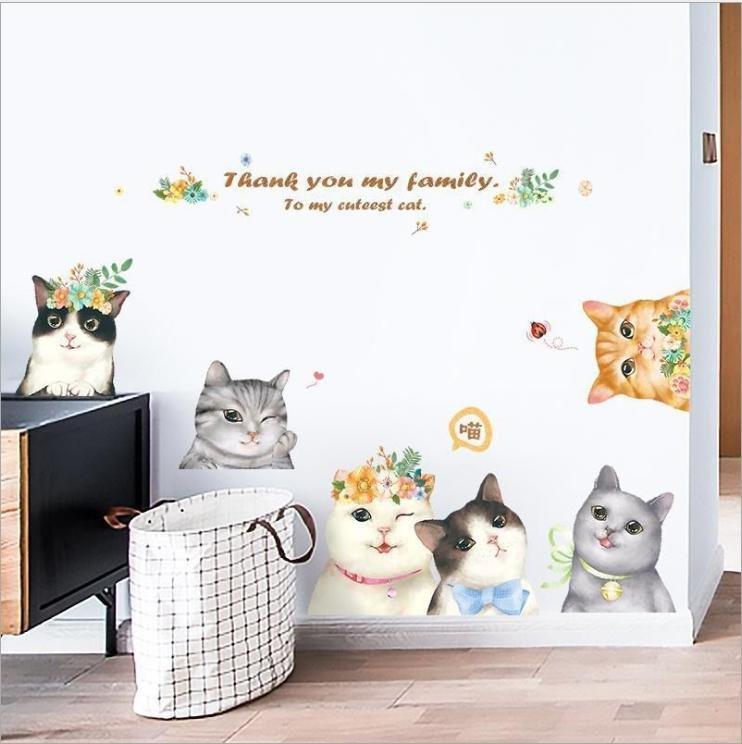 Decal dán tường gia đình mèo