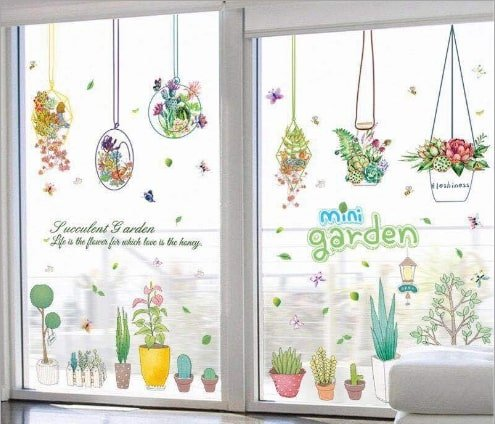 Decal dán tường giỏ hoa treo mini garden