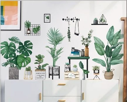 Decal dán tường góc cây xanh