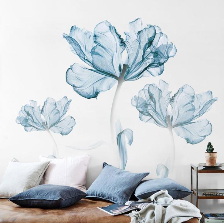 Decal dán tường hoa màu nước