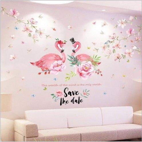 Decal dán tường hồng hạc tình yêu