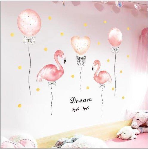 Decal dán tường hồng hạc và bong bóng