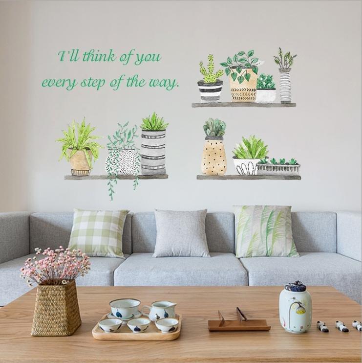 Decal dán tường kệ cây xanh 2