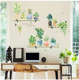 Decal treo tường kệ gỗ và cây xanh
