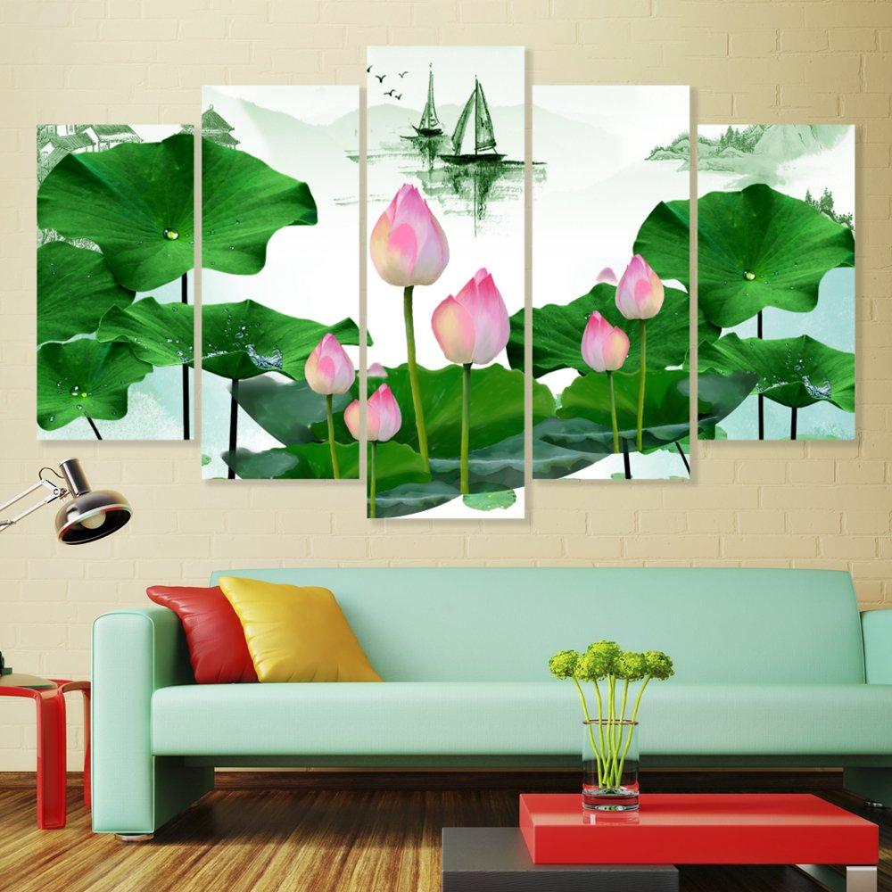 Tranh treo tường hồ sen hồng