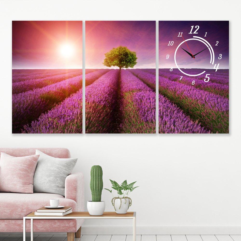 Tranh đồng hồ vườn hoa Lavender