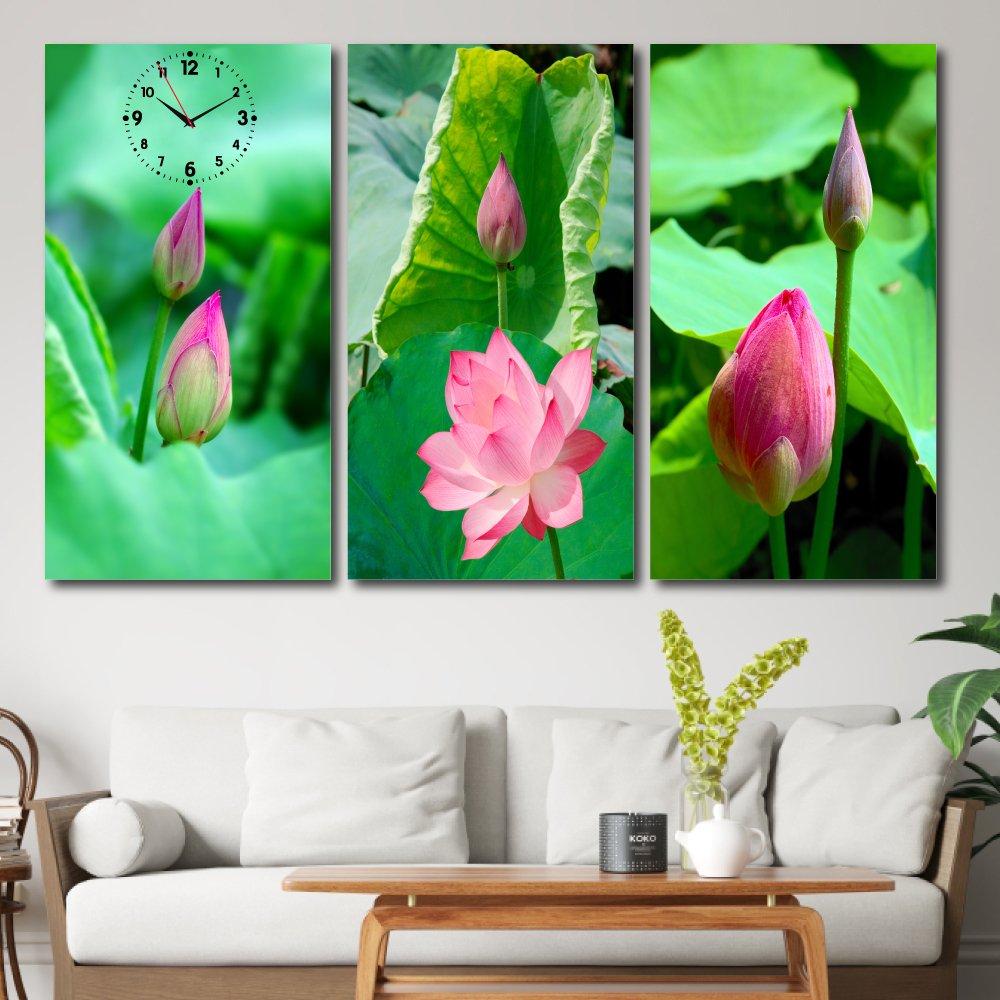 Tranh đồng hồ treo tường hoa sen hồng 2