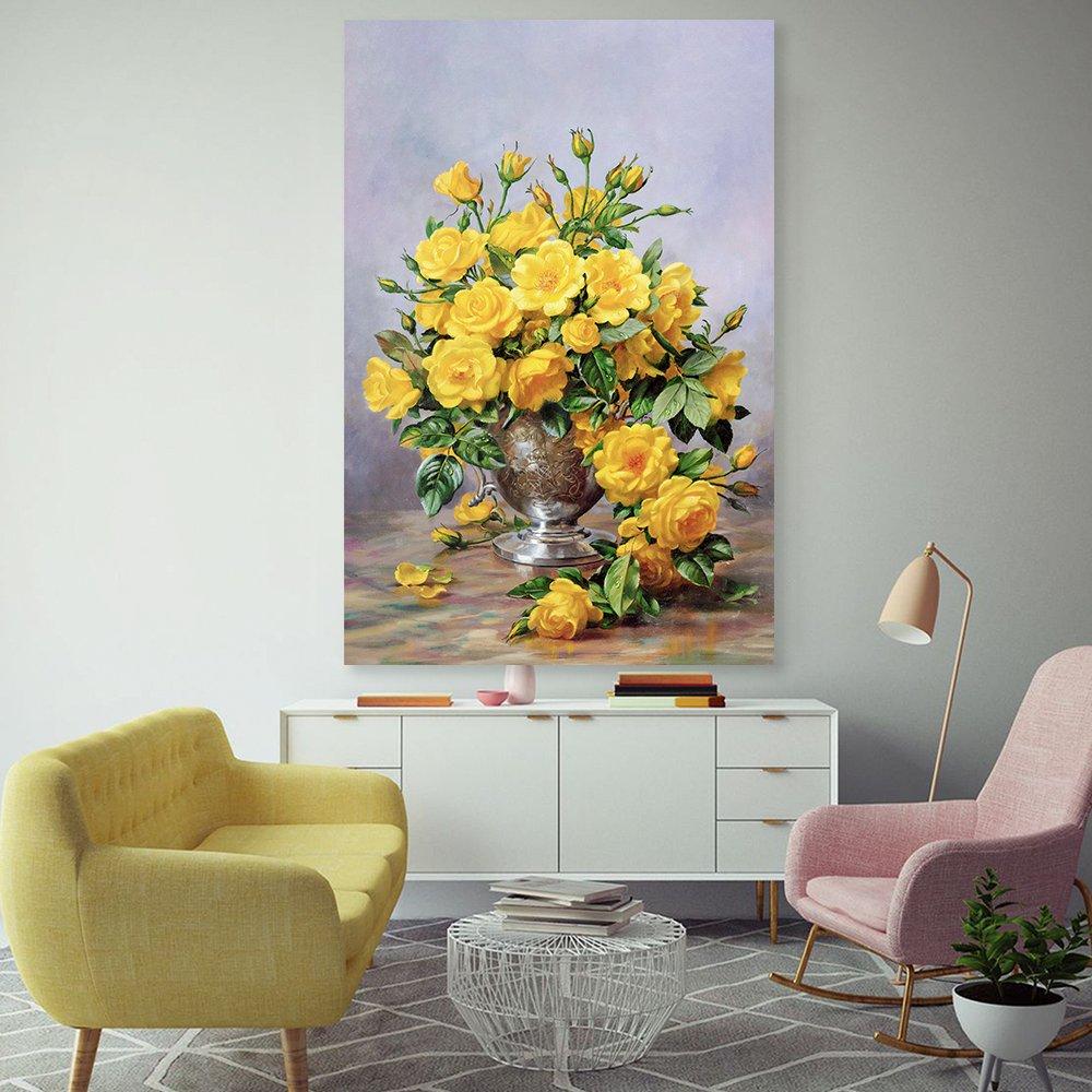 Tranh treo tường nghệ thuật lọ hoa vàng sang trọng