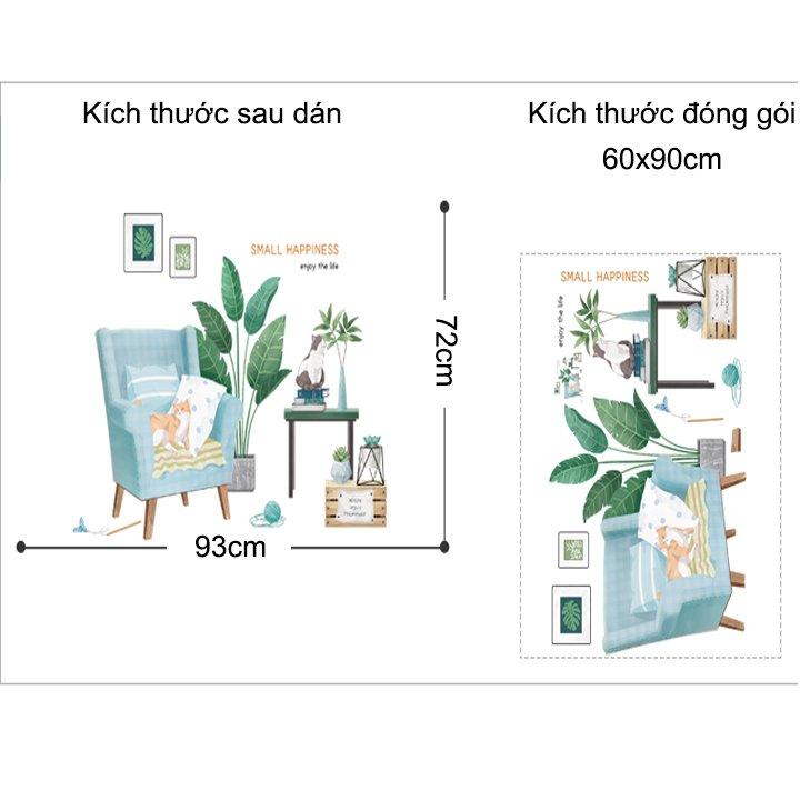 Decal treo tường sofa lá xanh và mèo