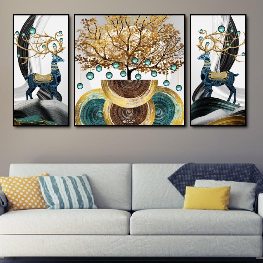 Tranh treo tường cây nghệ thuật và đôi hươu