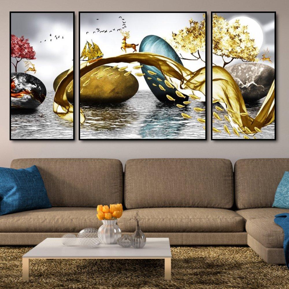 Tranh treo tường nai vàng vượt biển