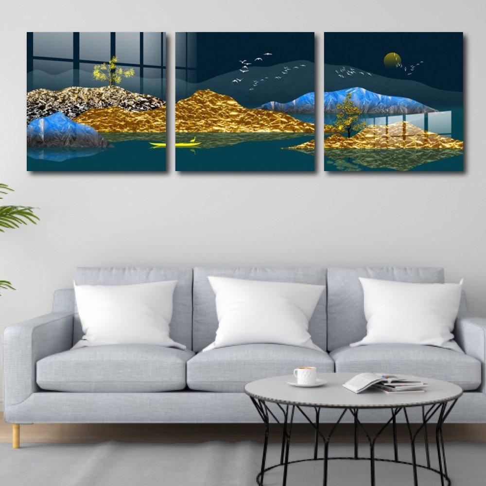 Tranh treo tường cảnh thuyền đêm nghệ thuật