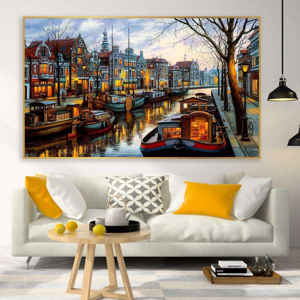 Tranh treo tường thành phố sơn dầu 2