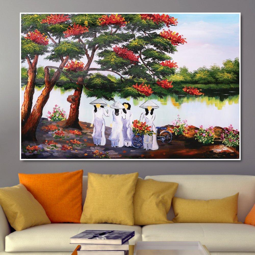 Tranh treo tường áo dài trắng và hoa phượng đỏ