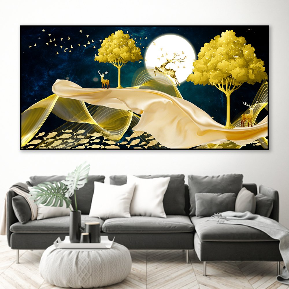 Tranh treo tường nai vàng dưới trời đêm 2