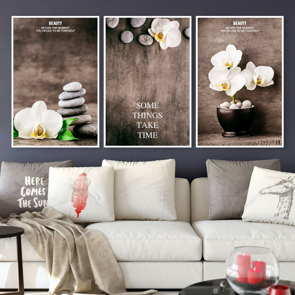 Tranh treo tường spa đá và hoa trắng