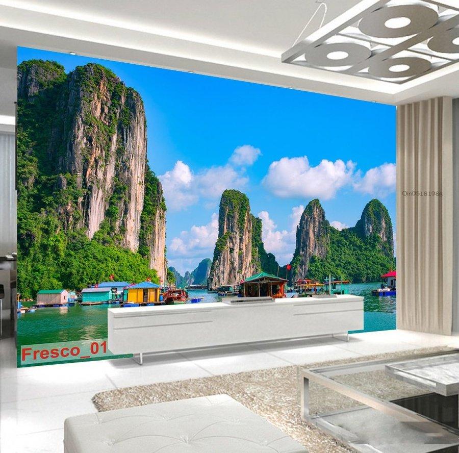 Tranh dán tường phong cảnh biển vịnh hạ long 3D