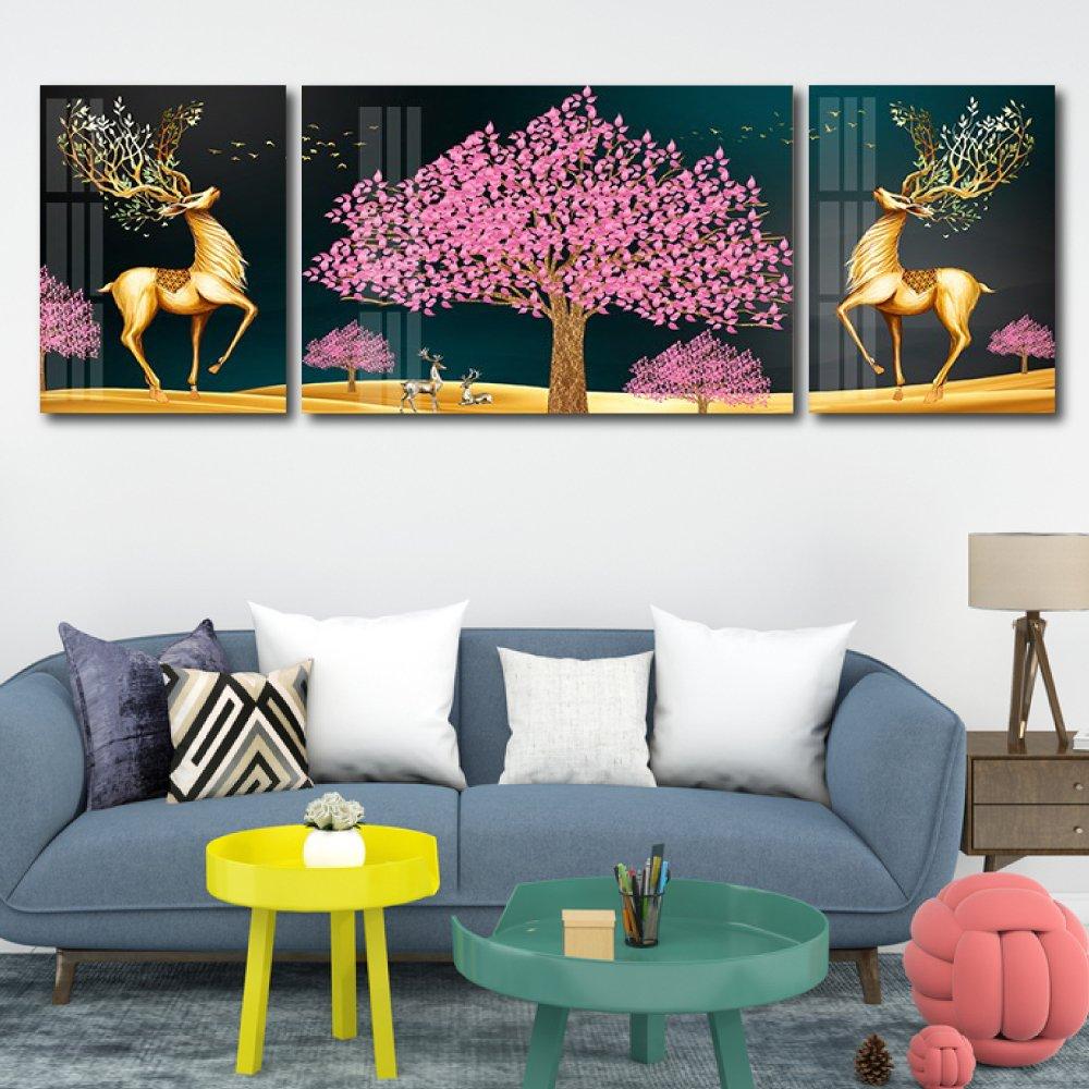 Tranh treo tường nai vàng và hoa đào