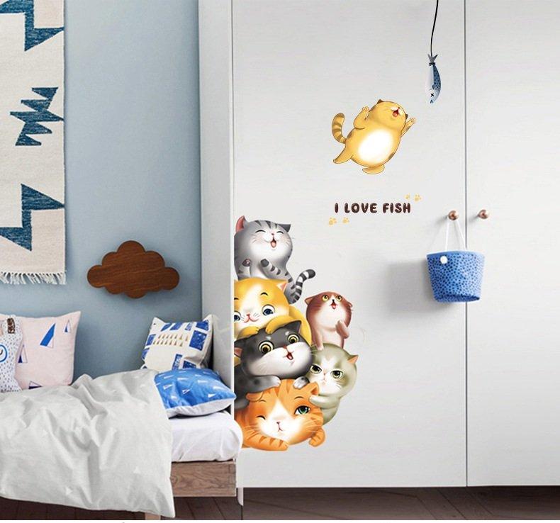 Decal dán tường đàn mèo dễ thương