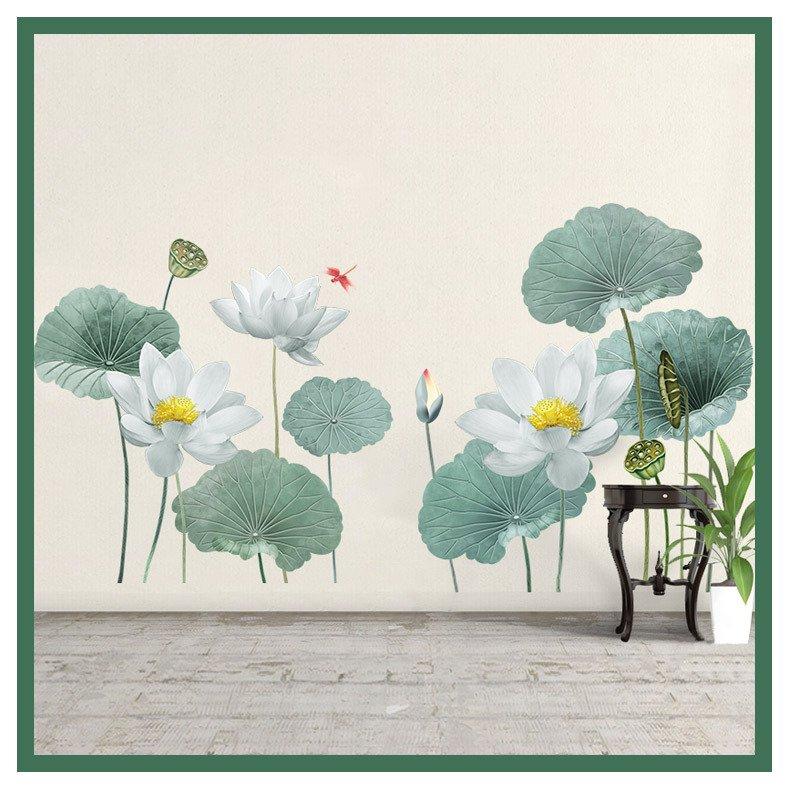 Decal dán tường hoa sen trắng 2