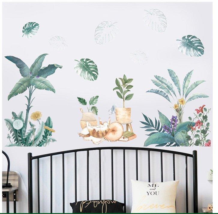 Decal dán tường mèo và lá xanh