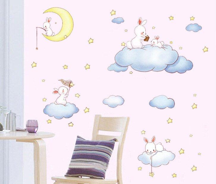 Decal dán tường thỏ và bóng bay