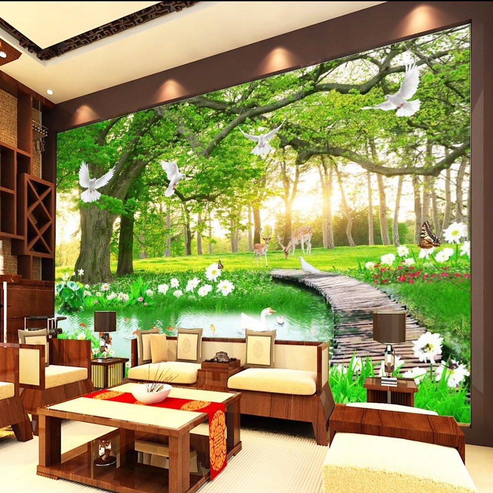 Tranh Dán Tường 3D Rừng Cây Xanh
