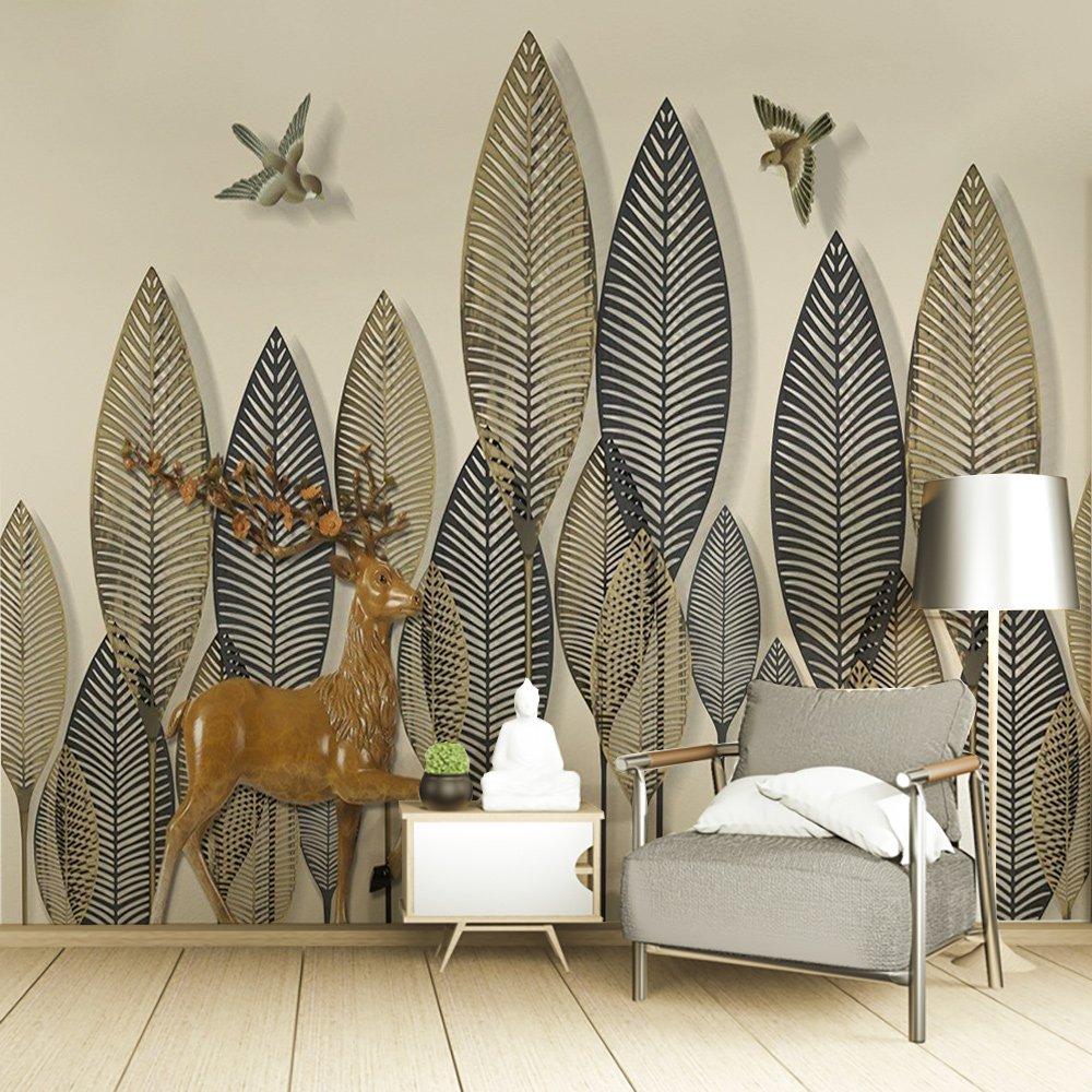Tranh dán tường lá và nai nghệ thuật