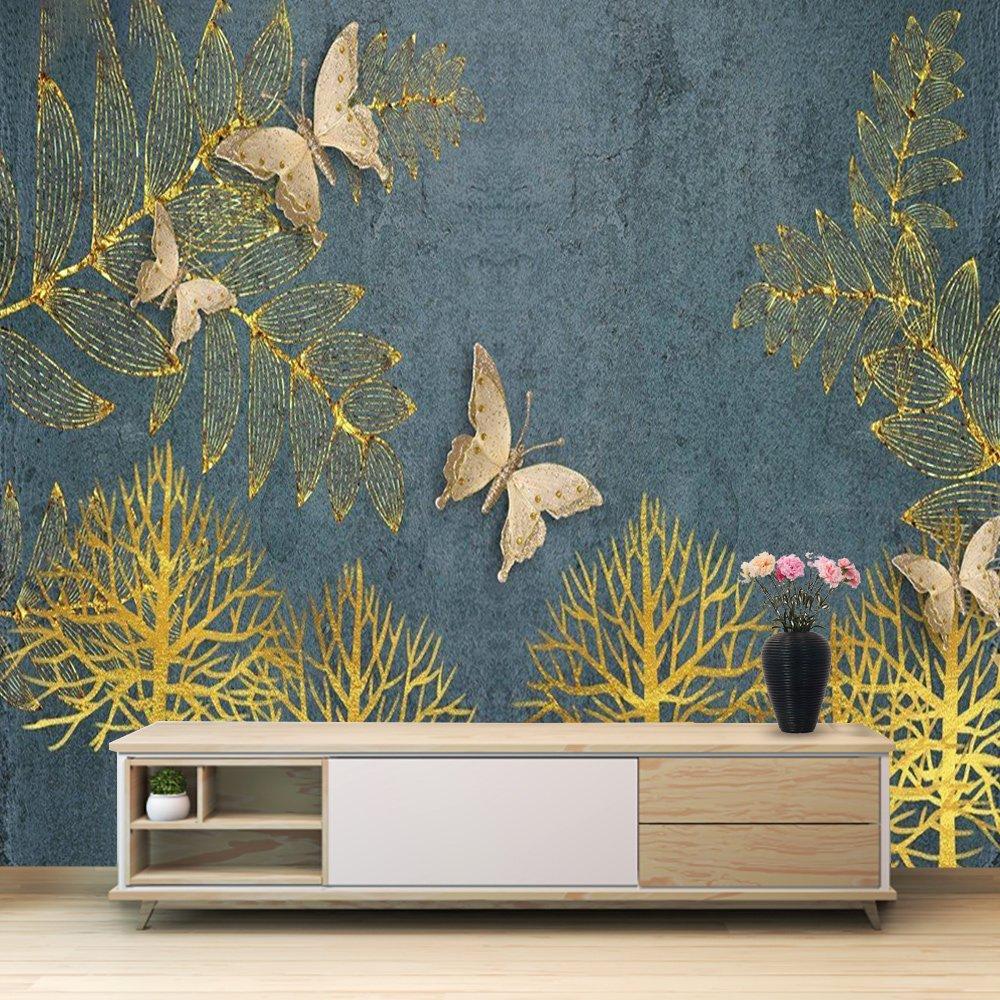 Tranh dán tường lá vàng và bướm