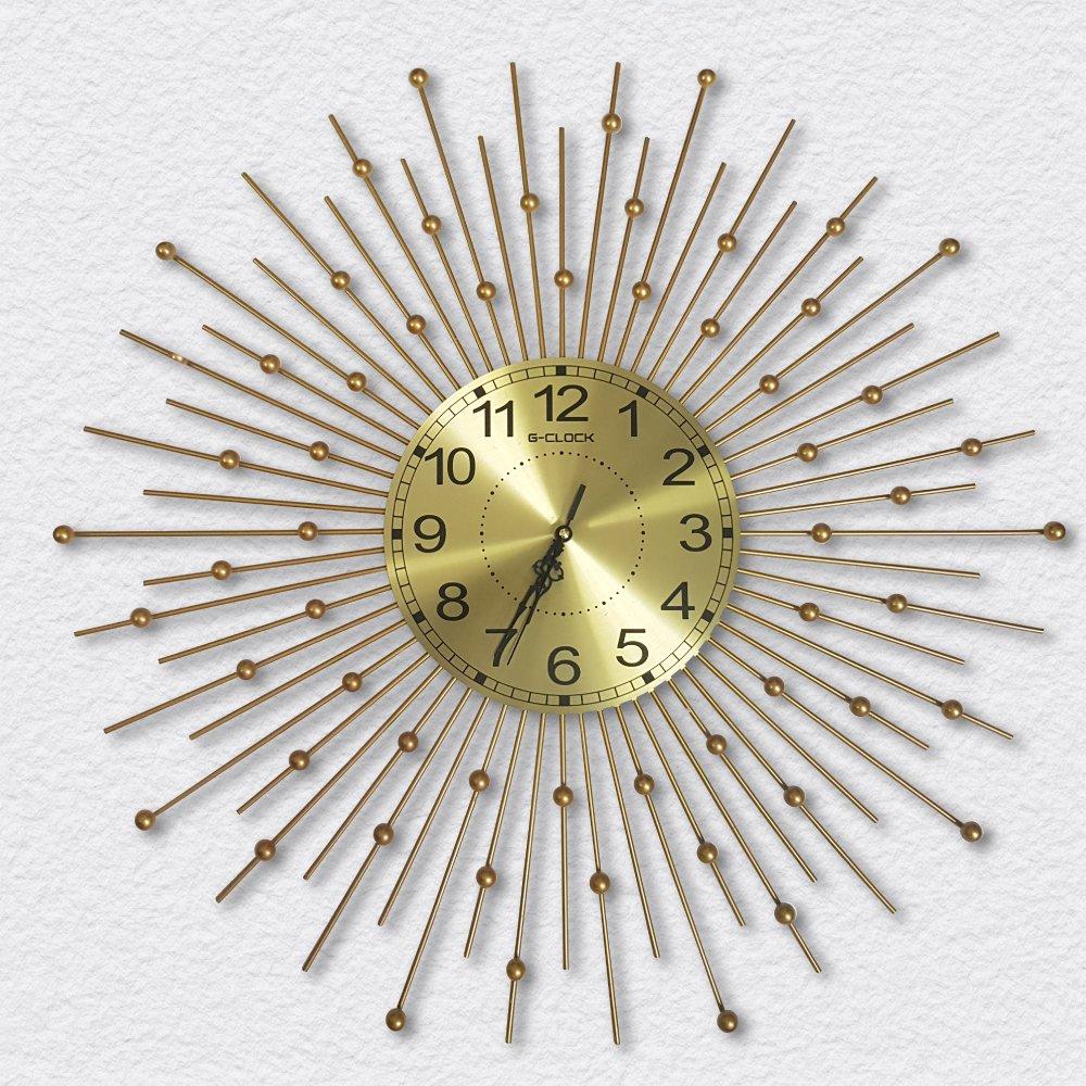 Đồng hồ treo tường đính đá mặt trời vàng 2
