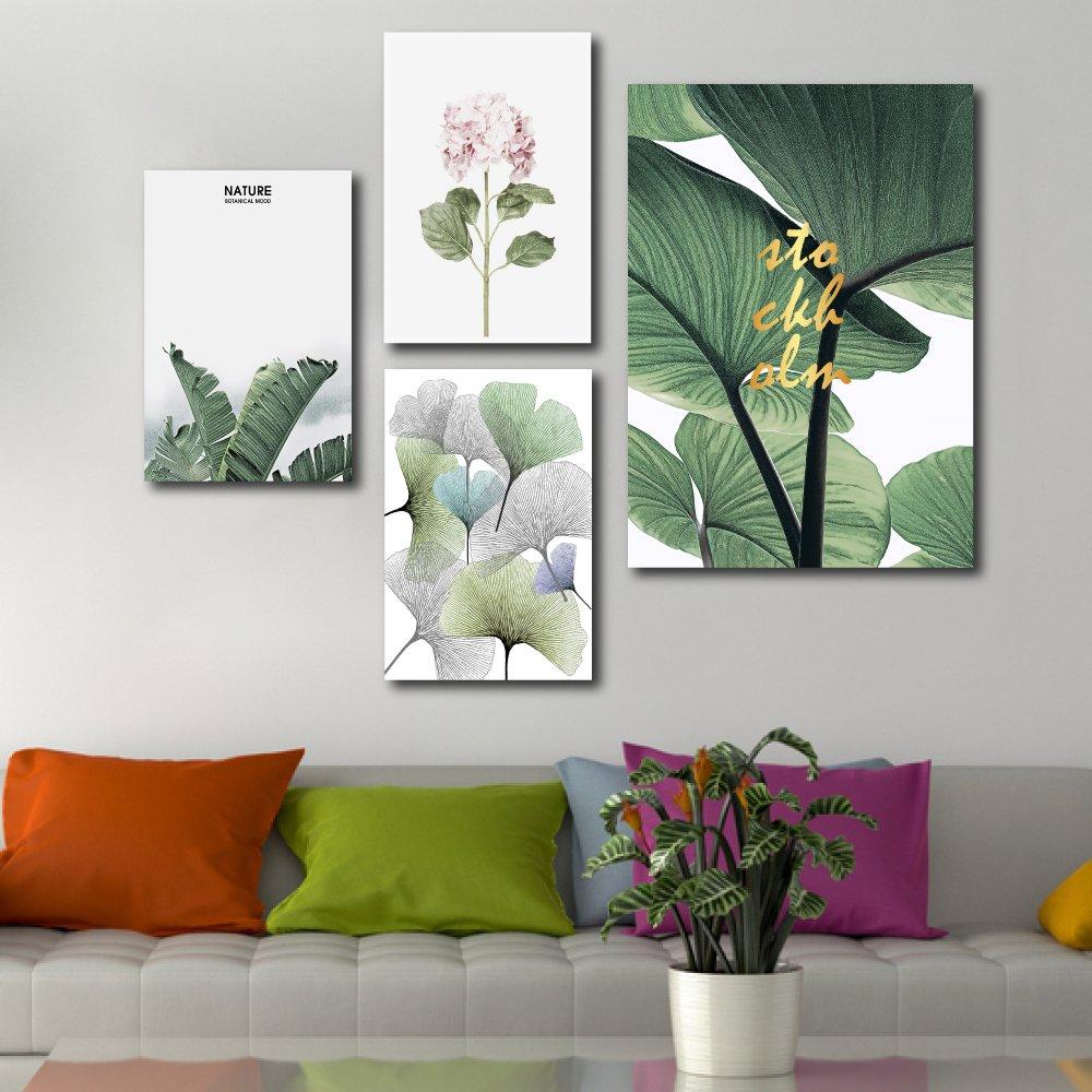 Tranh treo tường lá xanh và hoa