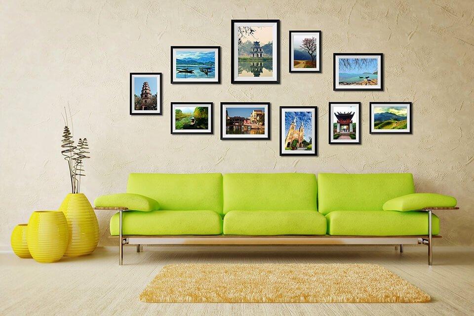 Những bộ khung ảnh treo tường đẹp sẽ tạo nên điểm nhấn cho ngôi nhà của bạn
