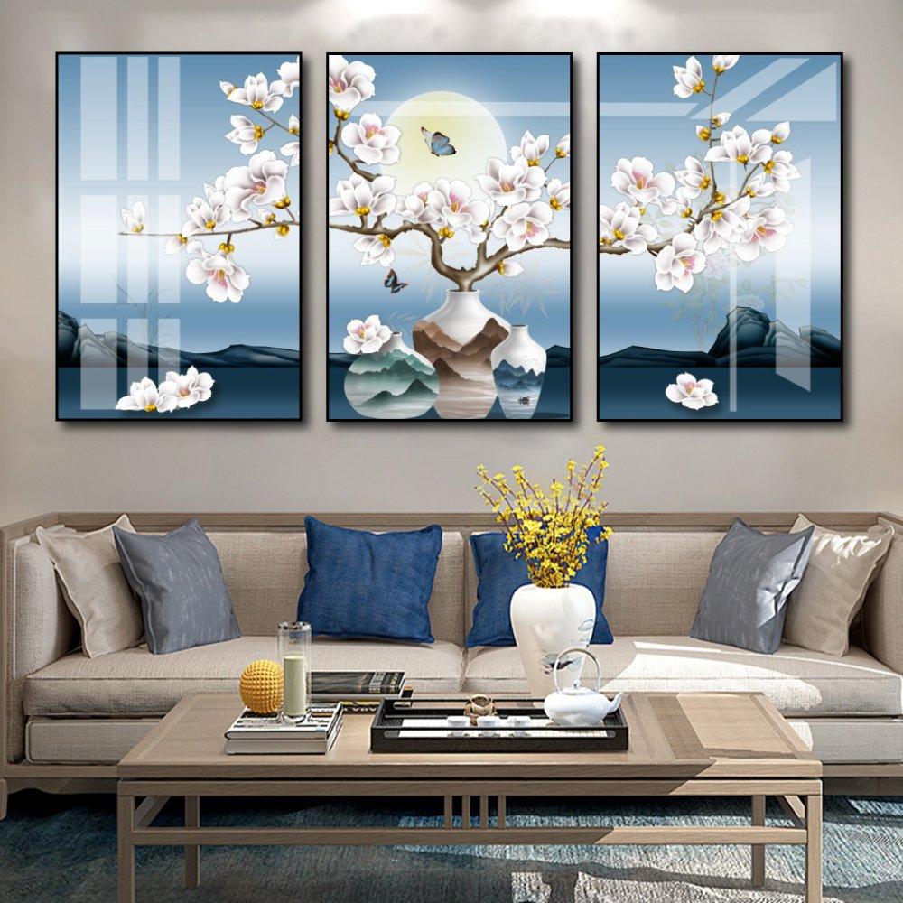 Tranh treo tường hoa trắng dưới trăng vàng