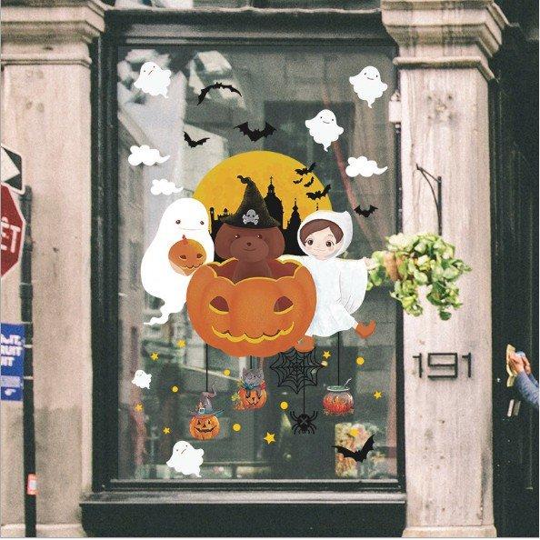Decal trang trí halloween bóng ma và bí ngô