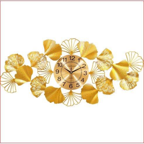 Đồng Hồ Treo Tường Đính Đá Lá Rẻ Quạt Vàng