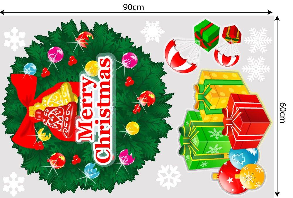 Decal trang trí combo Merry Christmas và ông già noel vui vẻ