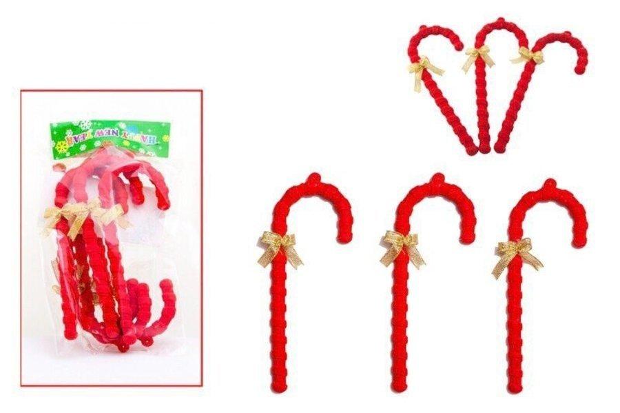 Đồ Trang Trí Noel Gậy Nhung Đỏ Lớn (6 cái )