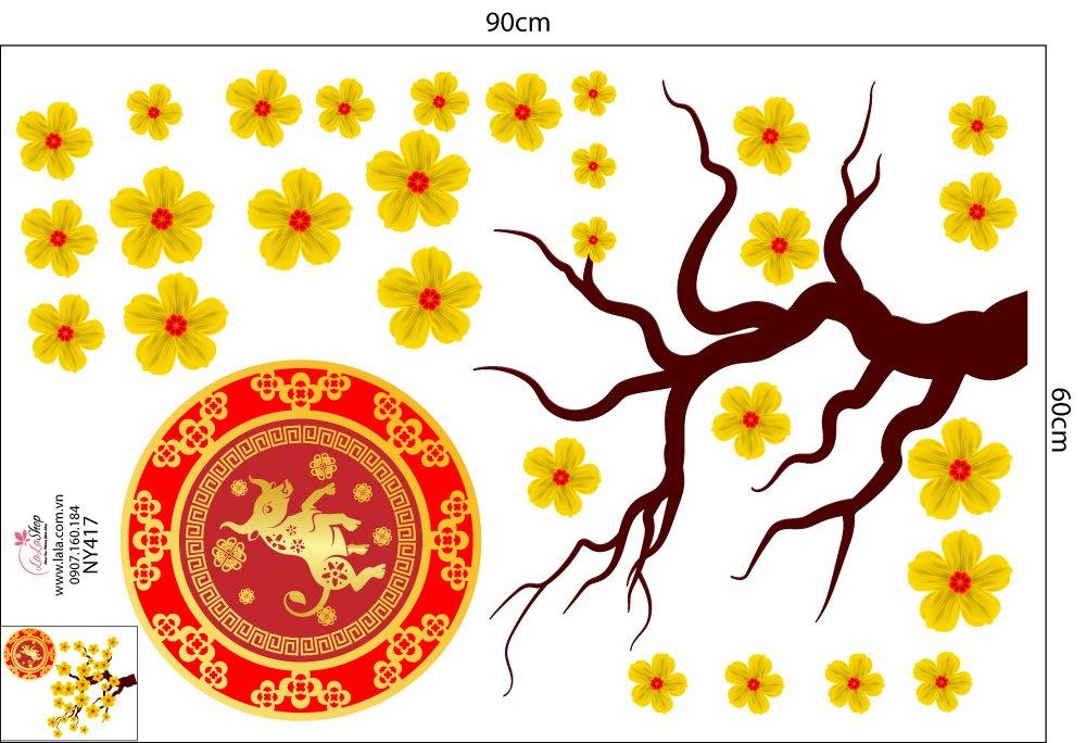 Decal cây mai vàng phúc lộc Tân Sửu