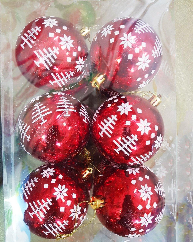 Đồ trang trí noel hộp quả châu đỏ họa tiết noel
