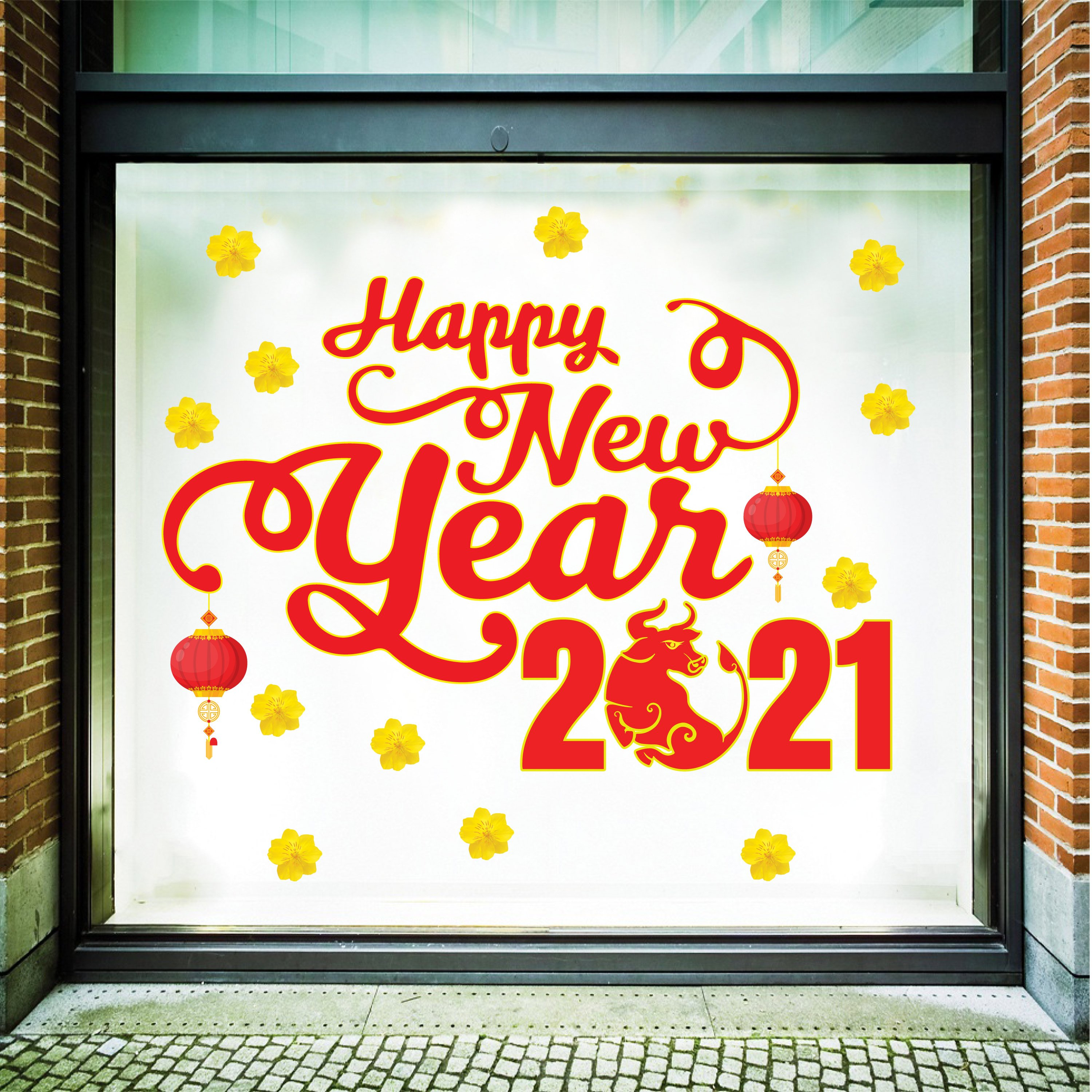 Decal trang trí tết Happy New Year 2021