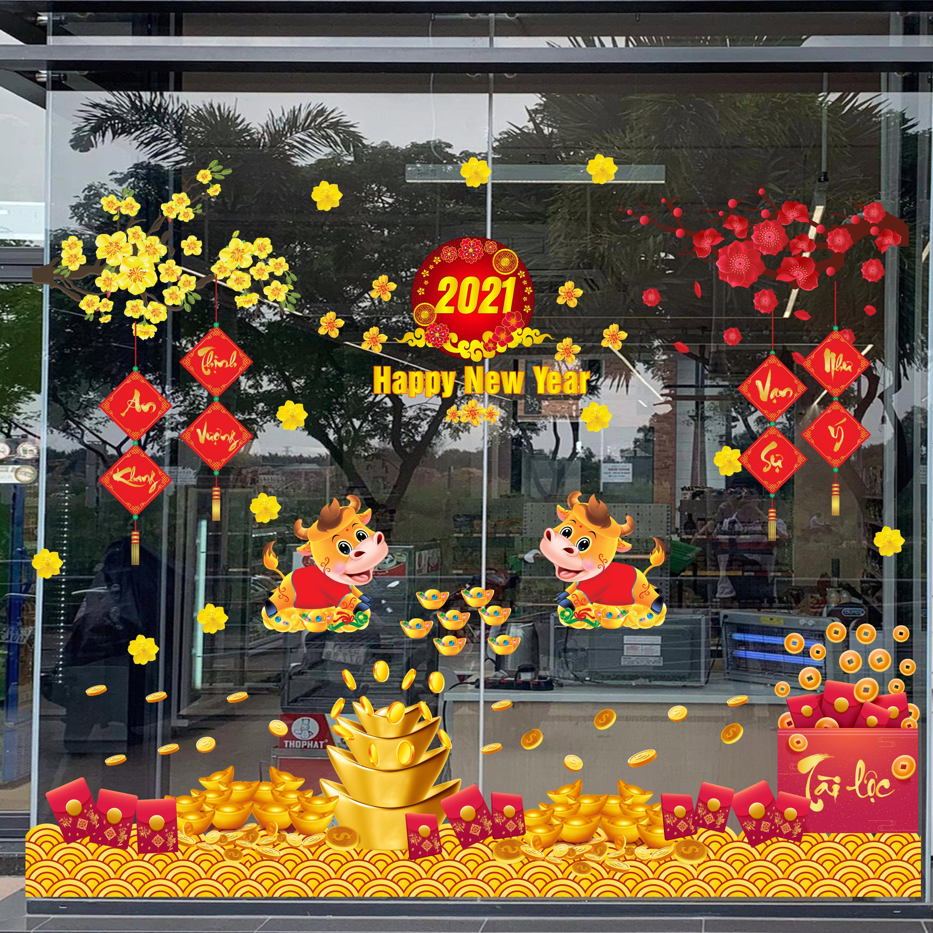 Combo Decal trang trí tết Happy New Year 2021