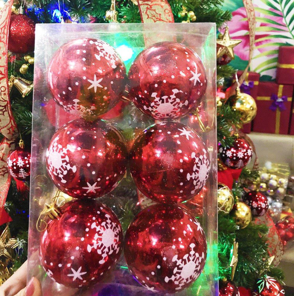 Đồ trang trí noel hộp quả châu đỏ bóng họa tiết size 8cm
