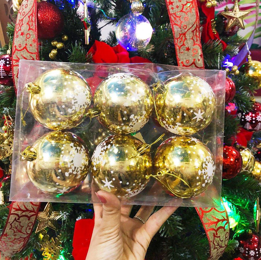 Đồ trang trí noel hộp quả châu vàng họa tiết size 8cm