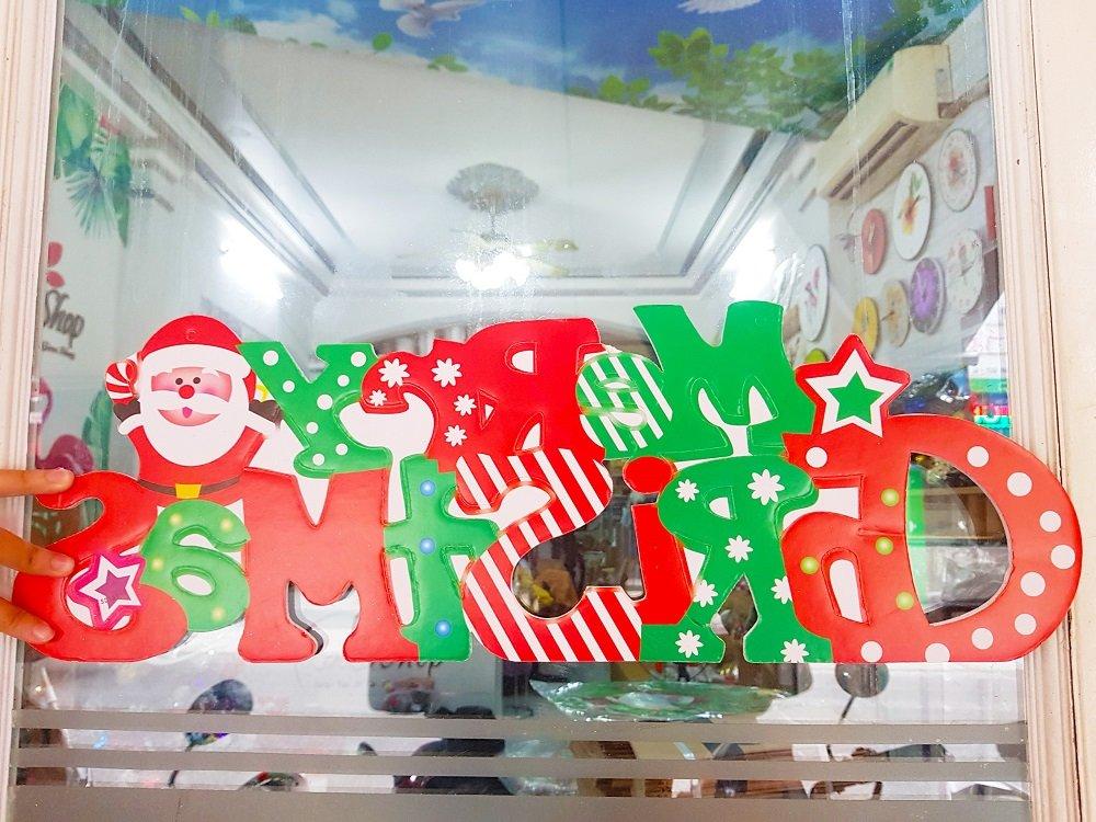 Đồ trang trí noel hình dán 2 mặt dây treo merry christmas
