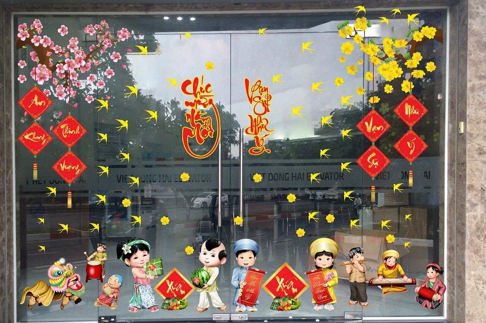 Combo Decal Trang Trí tết chúc mừng năm mới vạn sự như ý
