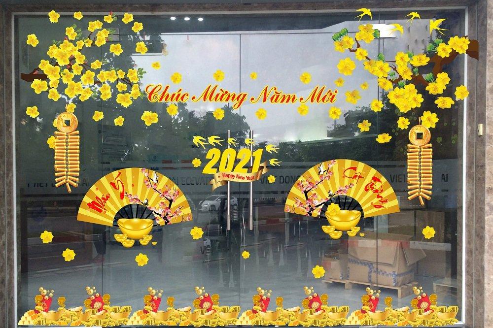 Combo decal trang trí cửa kính ngày tết năm mới như ý cát tường