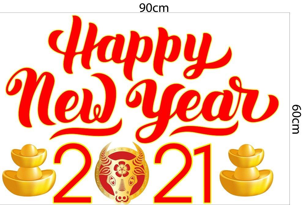 Decal trang trí tết happy new year 2021 mẫu 4