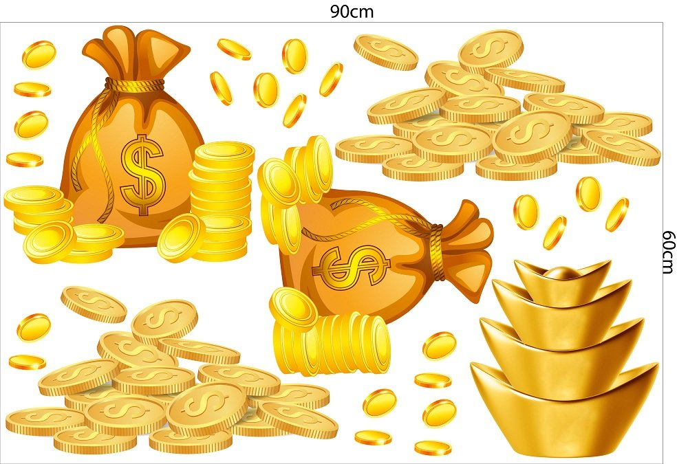 Decal trang trí tết túi tiền vàng phúc lộc thọ