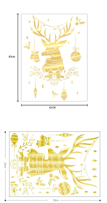Decal trang trí noel đầu tuần lộc vàng 2021